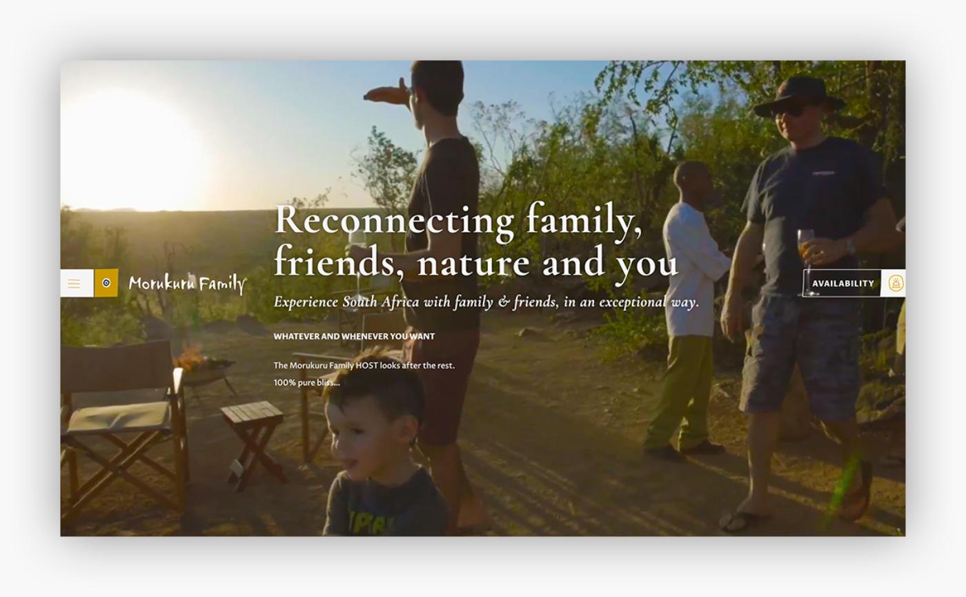 Morukuru website zuid-afrika slider voorbeeld